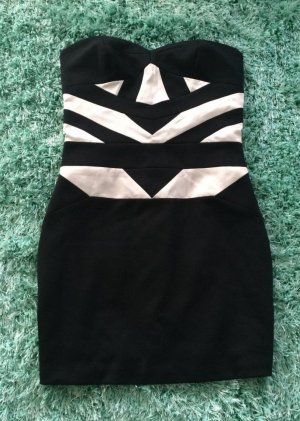 BCBG Sukienka mini czarny-w kolorze białej wełny Abstrakcyjny wzór