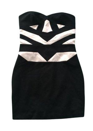 BCBG Minikleid schwarz-wollweiß abstraktes Muster extravaganter Stil
