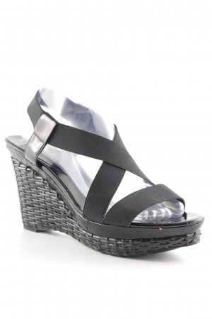 BCBG Wedge Sandals black elastic inset
