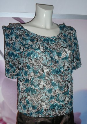 BCBGeneration Short Sleeved Blouse natural white-light blue polyester