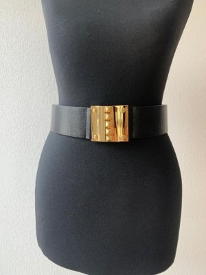 BCBG Maxazria Hebilla del cinturón negro-color oro