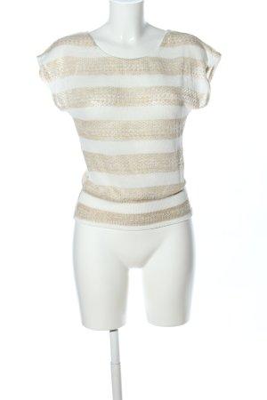 BCX Stricktop weiß-wollweiß Streifenmuster Casual-Look