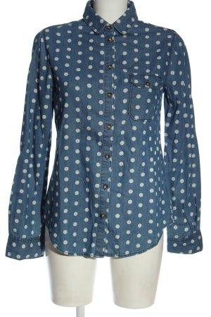 BDG Camicia blusa blu-bianco motivo a pallini stile casual