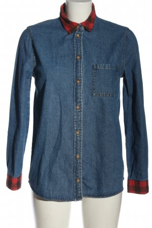 BDG Denim Shirt blue-red check pattern business style