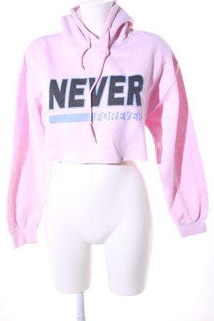 BDG Kapuzensweatshirt pink-schwarz Schriftzug gedruckt Casual-Look
