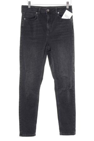 BDG Skinny Jeans schwarz-silberfarben Logo-Applikation aus Leder