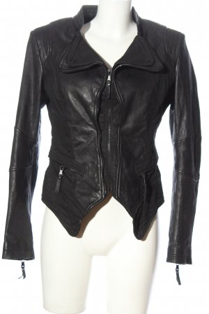 Be Edgy Leather Jacket black casual look
