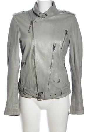Be Edgy Veste en cuir gris clair style décontracté