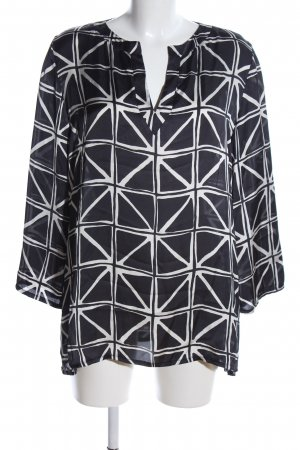 Bea Tricia Langarm-Bluse schwarz-weiß grafisches Muster Business-Look