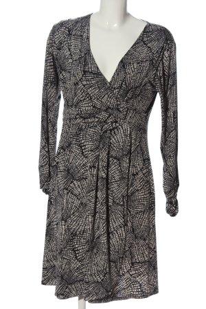 Bea Tricia Robe à manches longues noir-blanc cassé motif abstrait
