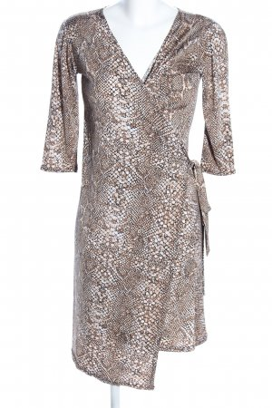 Bea Tricia Robe portefeuille brun-crème motif animal style d'affaires