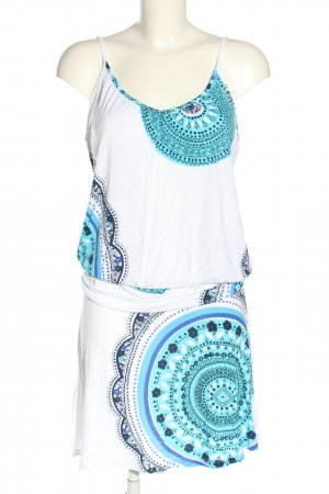 Beach Time Pinafore dress white-turquoise mixed pattern casual look