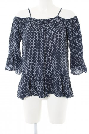 Carmen blouse blauw-wit volledige print casual uitstraling