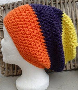 Handmade Bonnet jaune-violet