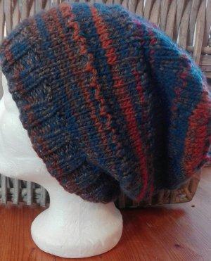 Handmade Beanie russet-dark blue