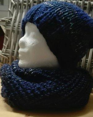 Handarbeit Écharpe ronde bleu-bleu foncé