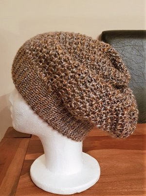 Crochet Cap light brown-brown polyacrylic