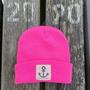 Beanie Mütze mit Anker in Neon Pink
