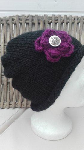 Handarbeit Cappello a maglia nero-lilla