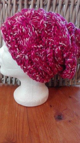 Handmade Bonnet rouge foncé-rouge framboise
