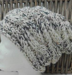 Handmade Knitted Hat light brown-natural white