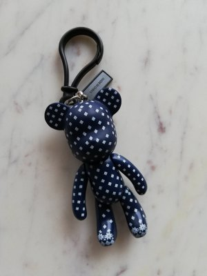 Bear Bär Schlüsselanhänger Anhänger Keychain Norweger Muster dunkelblau weiß