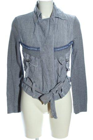 Beate Heymann Giacca-camicia grigio chiaro puntinato stile casual