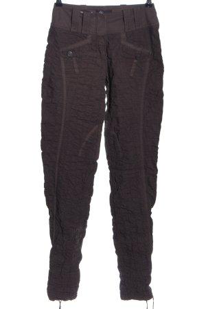 Beate Heymann Pantalone jersey nero-marrone motivo a righe stile casual