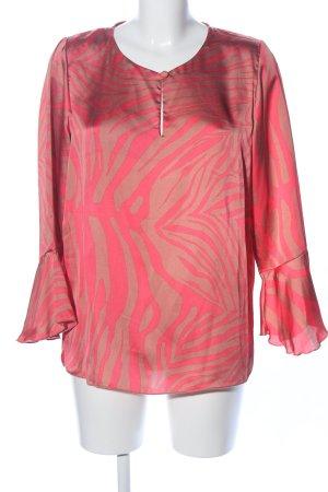 Langarm-Bluse hellorange-bronzefarben abstraktes Muster Casual-Look