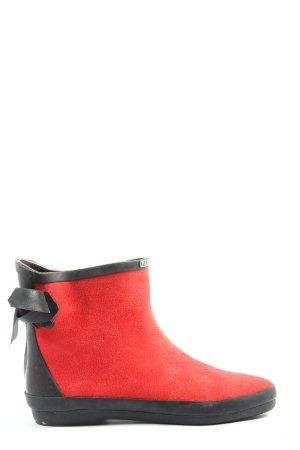 Beauty Girl's Botte en caoutchouc rouge-noir style décontracté