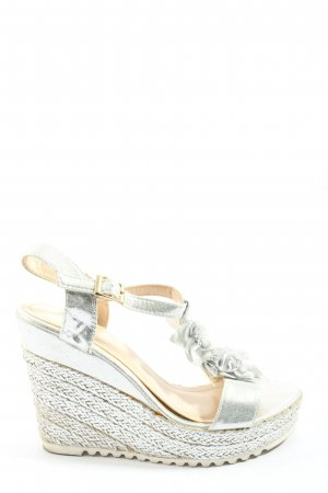 Beauty Girl's Sandały klinowe na obcasie srebrny Elegancki