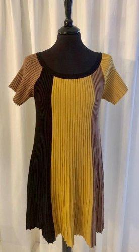 Beauty Women Kleid S/M Strickkleid gelb schwarz braun Frühling