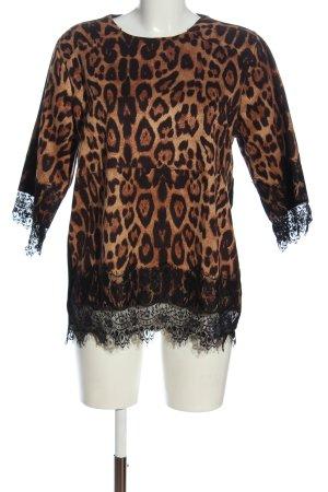 Beauty Women Short Sleeve Sweater brown-black animal pattern casual look
