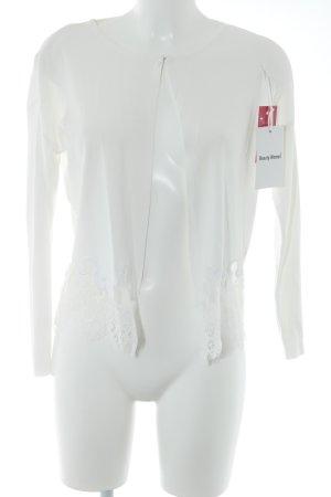 Beauty Women Kurtka o kroju koszulki w kolorze białej wełny Lamówka z koronki