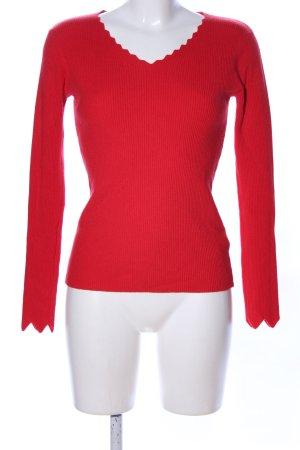 Beauty Women Maglione con scollo a V rosso stile casual
