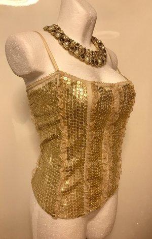 BEBE Corsage mit echt Leder Gold Pailletten L Neu