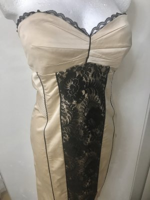 BEBE Damen Kleid Gold Beige schwarze Spitze L