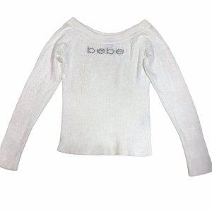 bebe Kraagloze sweater wit