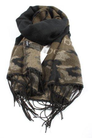 bebe Sjaal met franjes khaki-zwart camouflageprint casual uitstraling