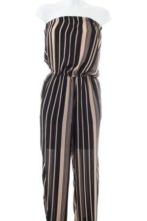 bebe Jumpsuit schwarz-creme Streifenmuster Casual-Look