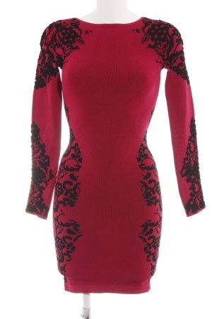 bebe Langarmkleid rot-schwarz abstraktes Muster Business-Look