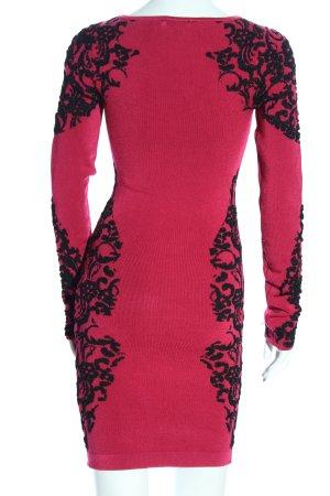 bebe Langarmkleid pink-schwarz abstraktes Muster Casual-Look