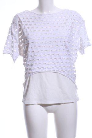 bebe Camisa de malla blanco estampado gráfico look casual