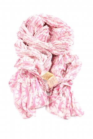 Beck Söndergaard Crinkle Scarf pink-white allover print casual look