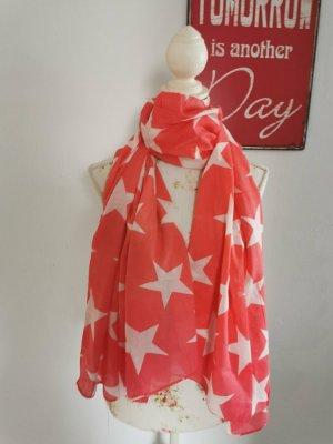 Becksöndergaard Damen Schal Knitted Sterne pink weiß