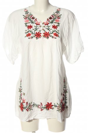 beclaimed vintage Short Sleeved Blouse white-red flower pattern casual look