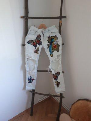 bedruckte Jeanshose