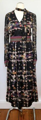 Bedrucktes Kleid in moderner Midilänge im Materialmix