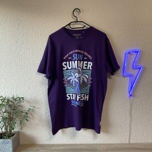 Manguun Oversized Shirt dark violet-white cotton