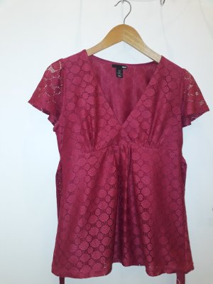 H&M Blouse portefeuille rouge framboise polyester